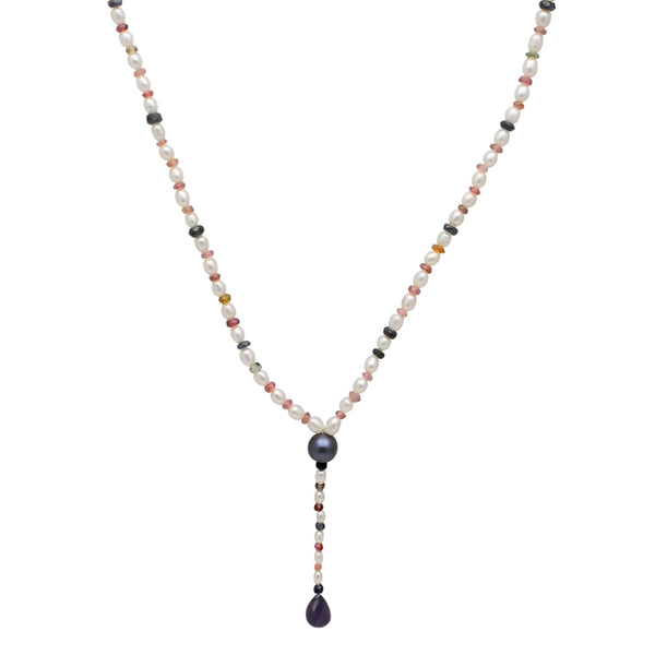 Jeweltique Designs 59.25 Carat Tourmaline, Sapphire, Amethyst & Pearl 14k Yellow Gold Beaded Necklace