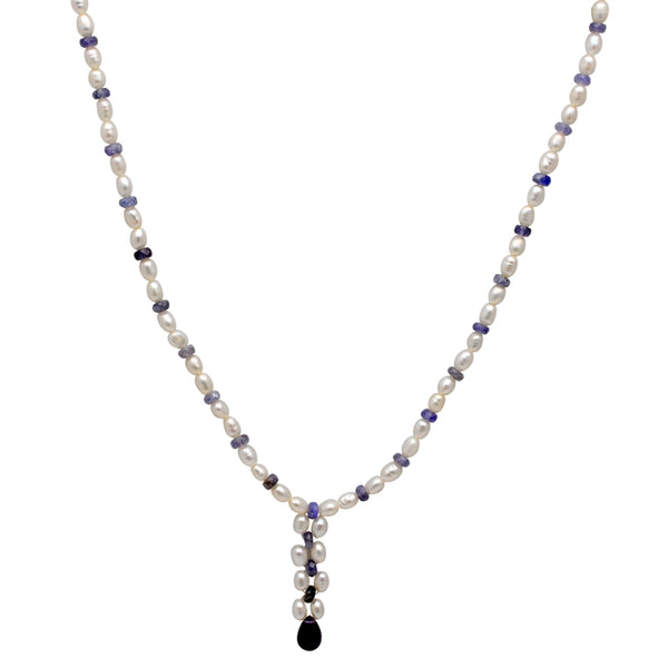 Jeweltique Designs 62 Carat Tanzanite, Amethyst & Pearl 14k Yellow Gold Beaded Necklace