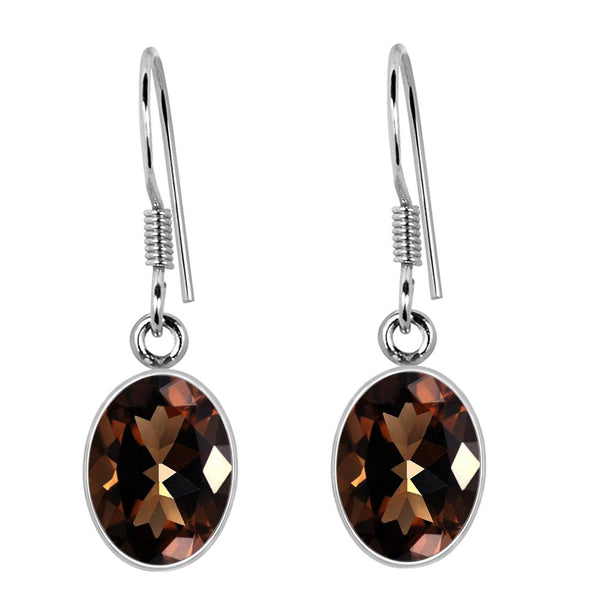 Orchid Jewelry 6.85 Carat Genuine Smoky Quartz Dangle Earring in 925 Sterling Silver