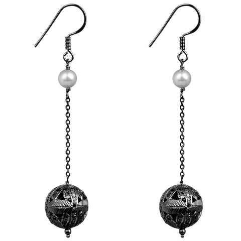 Jeweltique Designs 925 Sterling Silver 5.60 Carat Diamond & Pearl Ball Earrings