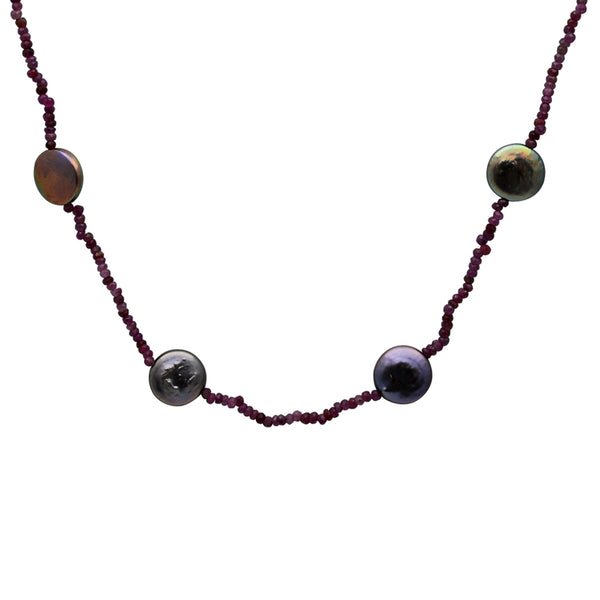 Jeweltique Designs 78.5 Carat Ruby & Grey Pearl 14k Yellow Gold Beaded Necklace