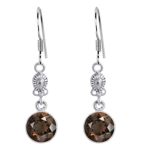 Orchid Jewelry 925 Sterling Silver 6.35 Carat Genuine Round Smoky Quartz Gemstone Wedding Earrings