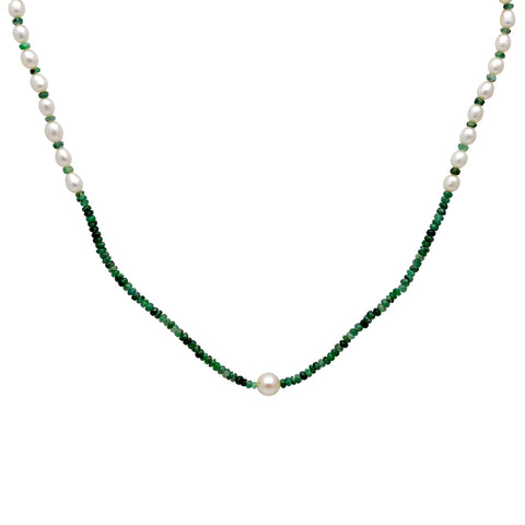 Jeweltique Designs 50 Carat Emerald & Pearl 14k Yellow Gold Beaded Necklace