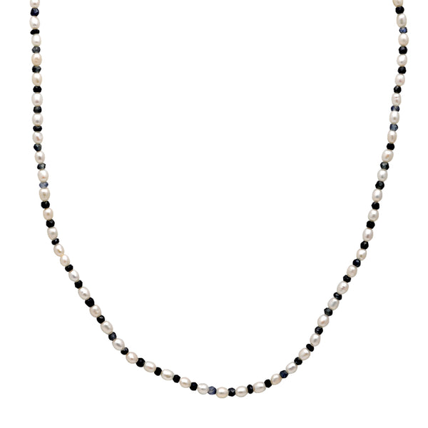 Jeweltique Designs 39 Carat Sapphire & Pearl 14k Yellow Gold Beaded Necklace