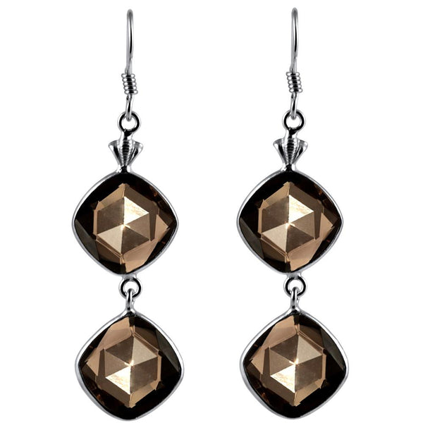 Orchid Jewelry 925 Sterling Silver 21.00 Carat Cushion Smoky Quartz Gemstone Wedding Earrings