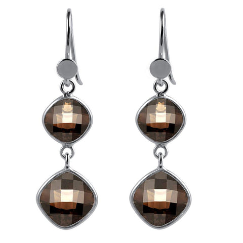 Orchid Jewelry 925 Sterling Silver 10.86 Carat Genuine Smoky Quartz Gemstone Dangle Earrings