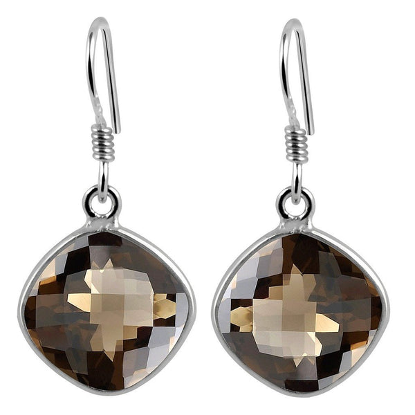 Orchid Jewelry 925 Sterling Silver 11.00 Carat Genuine Smoky Quartz Earrings