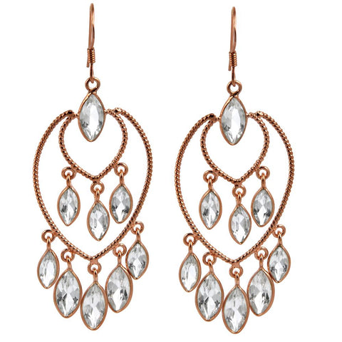 Orchid Jewelry 16.54 Carat Genuine White Topaz 925 Sterling Silver Dangle Earring with Rose Gold Plated