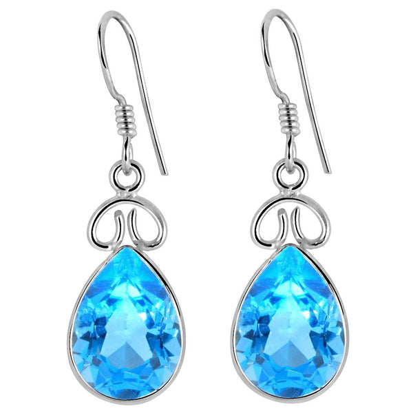 Orchid Jewelry 925 Sterling Silver 11.25 Carat Genuine Blue Topaz Earring