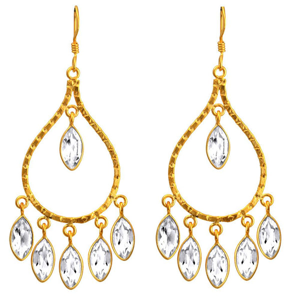 Orchid Jewelry 18k Yellow Gold Plated Sterling Silver 14.00 Carat Genuine White Topaz Bridal Earrings