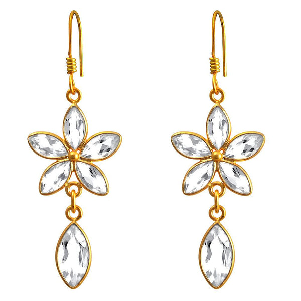 Orchid Jewelry 14k Yellow Gold Plated  925 Sterling Silver 10.00 Carat Genuine White Topaz Gemstone Dangle Earrings