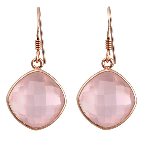 Orchid Jewelry Pink Gold Plated Sterling Silver 19.00 Carat Cushion-cut Rose Quartz Gemstone Wedding Earrings