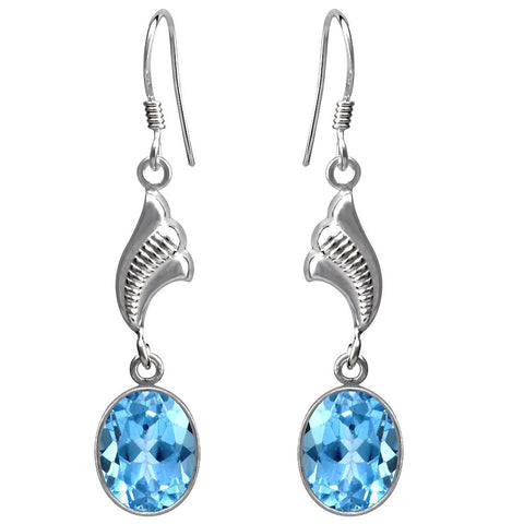 Orchid Jewelry 925 Sterling Silver 11.00 Carat Genuine Blue Topaz Designer Earrings