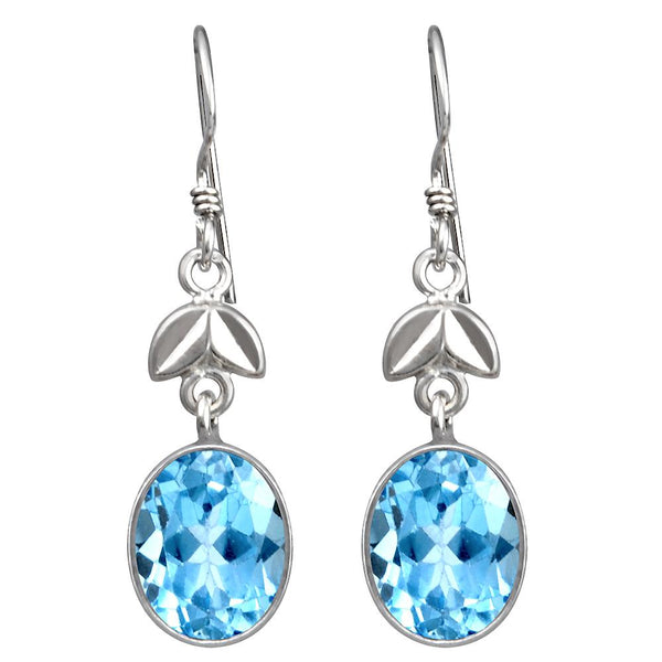 Orchid Jewelry 8.25 Carat Genuine Blue Topaz Dangle Earring in 925 Sterling Silver