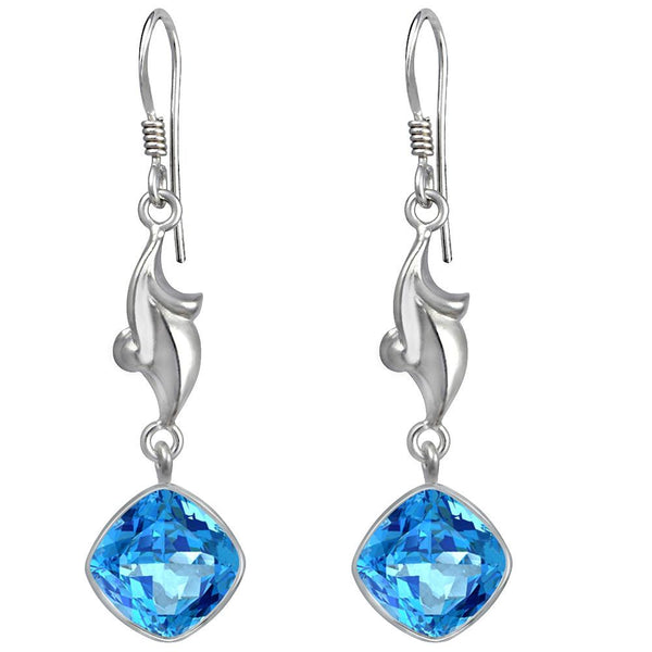 Orchid Jewelry 925 Sterling Silver 5.00 Carat Genuine Blue Topaz Earring