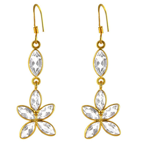 Orchid Jewelry 14k Yellow Gold Over Sterling Silver 8.25 Carat Genuine White Topaz Gemstone Earrings