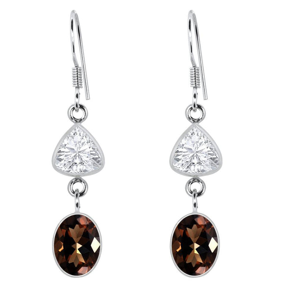 Orchid Jewelry Sterling Silver 8.25 Carat Genuine Smoky Quartz & White Topaz Earrings