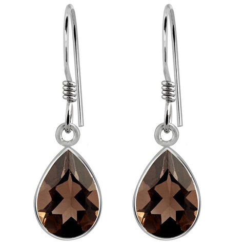 Orchid Jewelry Sterling Silver 3.43 Carat Smoky Quartz Pear Shaped Drop Earrings