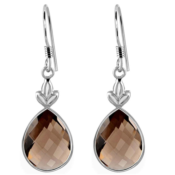 Orchid Jewelry 925 Sterling Silver 12.50 Carat Genuine Smoky Quartz Teardrop Gemstone Wedding Earrings
