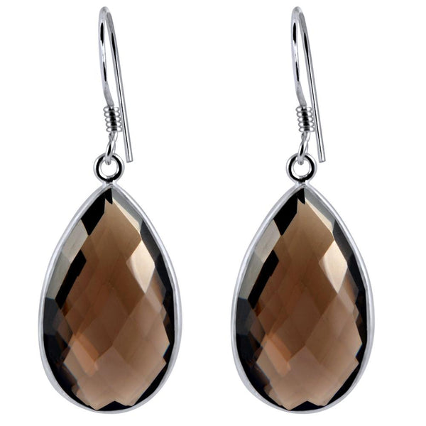 Orchid Jewelry 925 Sterling Silver 31.00Carat Genuine Teardrop Smoky Quartz Gemstone Teardrop Earrings
