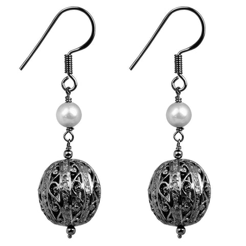 Jeweltique Designs 925 Sterling Silver 5.02 Carat Diamond & Pearl Earrings