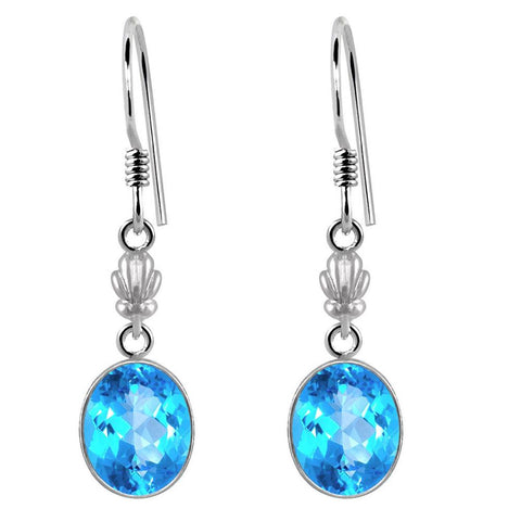 Orchid Jewelry 925 Sterling Silver 10.25 Carat Genuine Blue Topaz Oval Shape Earring