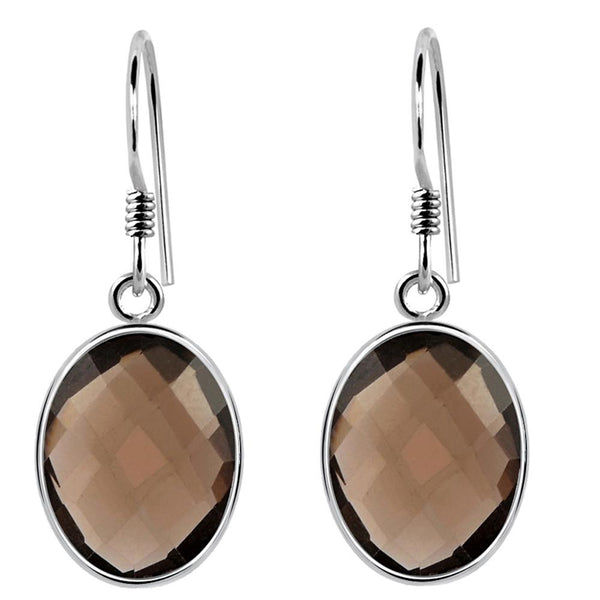 Orchid Jewelry 925 Sterling Silver 7.50 Carat Genuine Smoky Quartz Oval Briolitte Earring