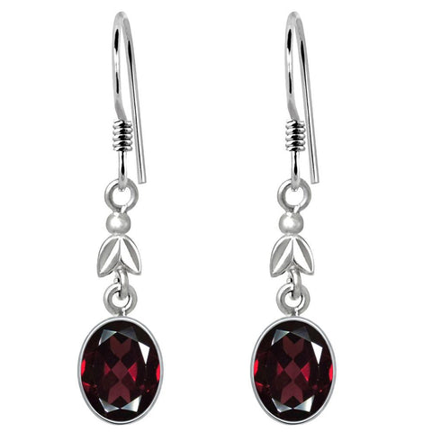 Orchid Jewelry 4.43 Carat Genuine Garnet Gemstone Bridal Earrings