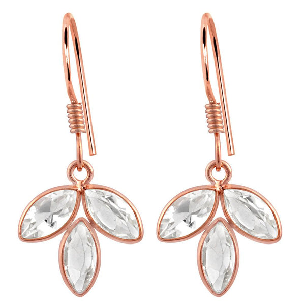 Orchid Jewelry Rose Gold Plated Sterling Silver 4.00 Carat Genuine White Topaz Bridal Earrings