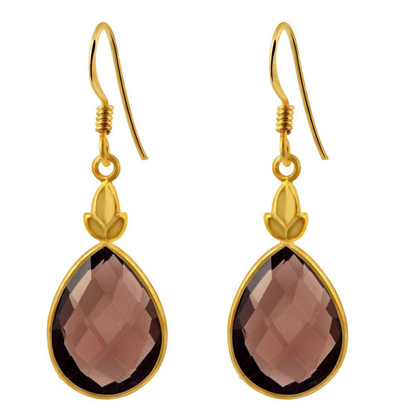 Orchid Jewelry 13.50 Carat Teardrop Smoky Quartz Gemstone 14k Yellow Gold Plated 925 Sterling Silver Earrings