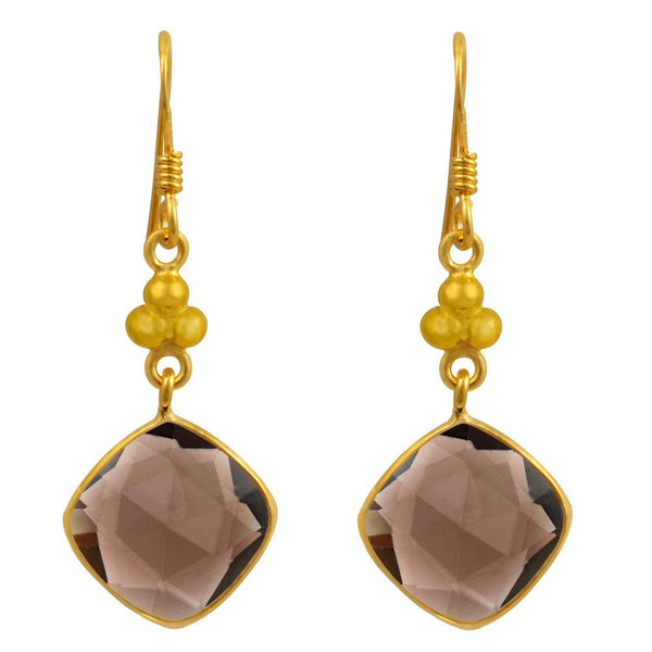 Orchid Jewelry 10.86 Carat Smoky Quartz 14k Gold Plated 925 Sterling Silver Dangle Earrings
