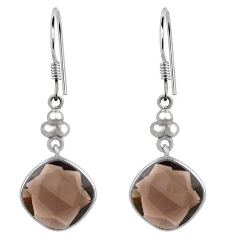 Orchid Jewelry 925 Sterling Silver 10.86 Carat Cushion-cut Smoky Quartz Gemstone Dangle Earrings