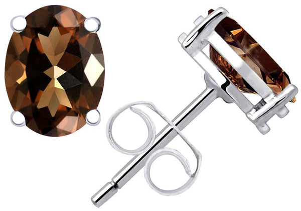 Orchid Jewelry 2.28 Carat Smoky Quartz 925 Sterling Silver Stud Earrings