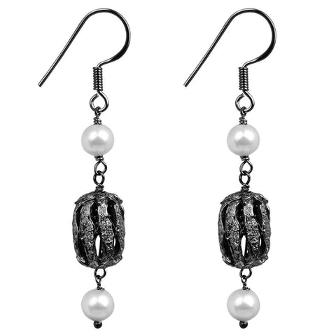 Jeweltique Designs Sterling Silver 7.32 Carat Diamond & Pearl & Earrings