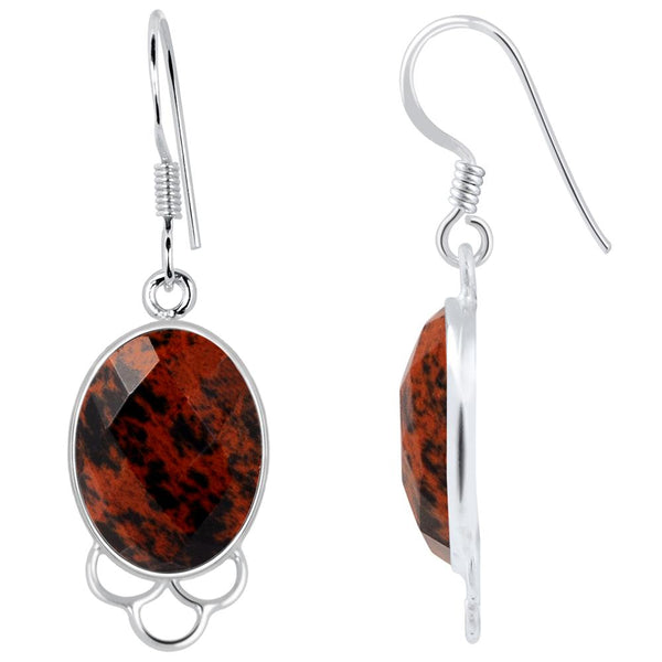 Orchid Jewelry 925 Sterling Silver 13.00 Carat Genuine Mahogany Obsidian Earring