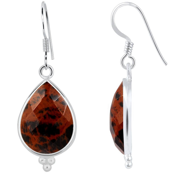 Orchid Jewelry 925 Sterling Silver 14.20 Carat Genuine Mahogany Obsidian Earring