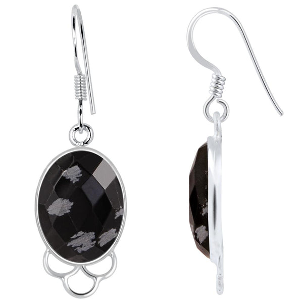 Orchid Jewelry 925 Sterling Silver 12.50 Carat Genuine Snowflake Obsidian Earring