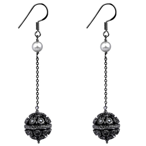 Jeweltique Designs Sterling Silver 8.10 Carat Diamond & Pearl Drop Earrings