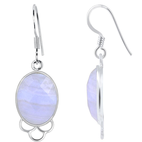 Orchid Jewelry 925 Sterling Silver 15.50 Carat Genuine Blue Lace Agate Earring