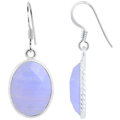 Orchid Jewelry 925 Sterling Silver 15.70 Carat Blue Lace Agate Drop Earrings