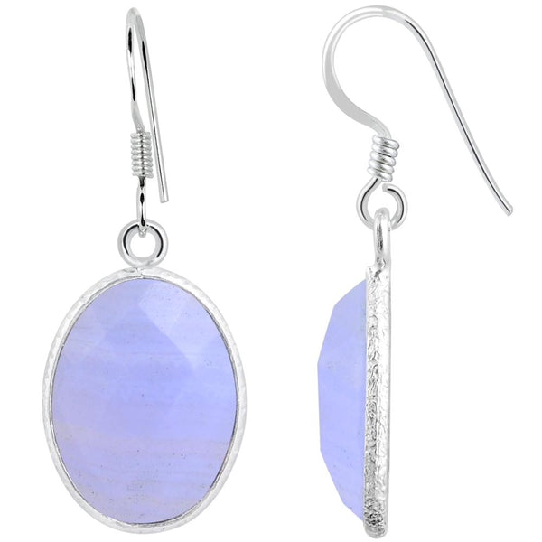 Orchid Jewelry 925 Sterling Silver 15.70 Carat Genuine Blue Lace Agate Earring