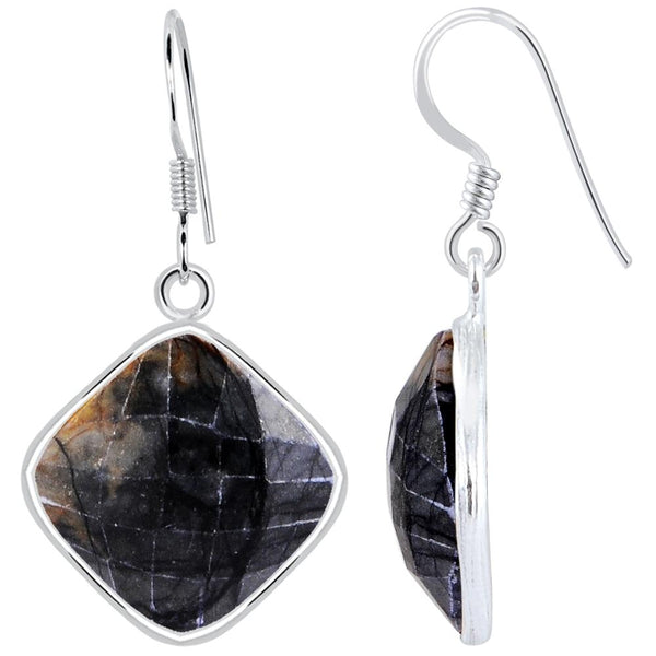 Orchid Jewelry 925 Sterling Silver 19.30 Carat Picasso Jasper Drop Earrings