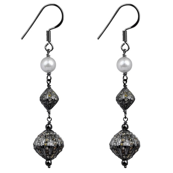 Jeweltique Designs Sterling Silver 6.02 Carat Grey Diamond & Pearl Earring