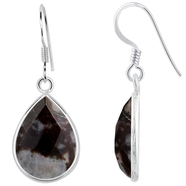 Orchid Jewelry 925 Sterling Silver 17.10 Carat Outback Jasper Teardrop Earrings