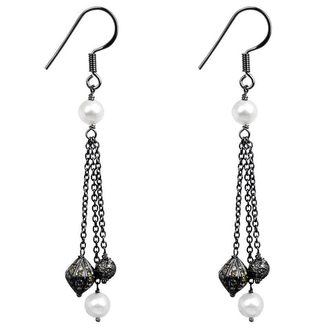 Jeweltique Designs 925 Sterling Silver 7.34 Carat Diamond & Pearl Earrings