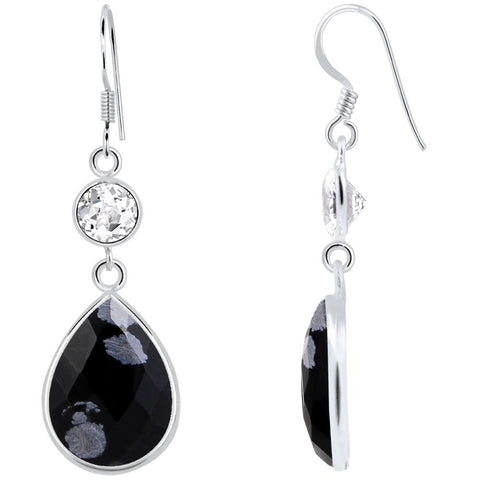 Orchid Jewelry 925 Sterling Silver 16.50 Carat Genuine Snowflake Obsidian and White Topaz Earring