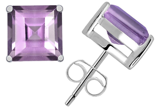 Orchid Jewelry 5.15 Carat Amethyst Square Sterling Silver Gemstone Stud Earrings
