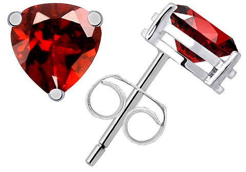 Orchid Jewelry 925 Sterling Silver 1.80 Carat Genuine Garnet Stud Earrings