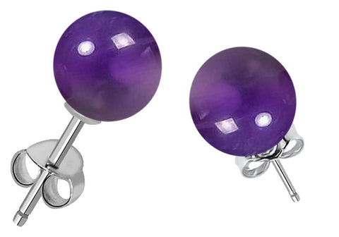 Orchid Jewelry 7.00 Carat Genuine Amethyst Ball 925 Sterling Silver Stud Earrings