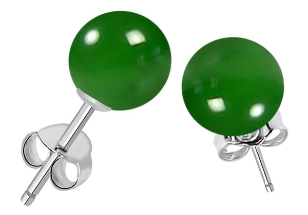 Orchid Jewelry 7.25 Carat Genuine Green Onyx Ball 925 Sterling Silver Stud Earrings